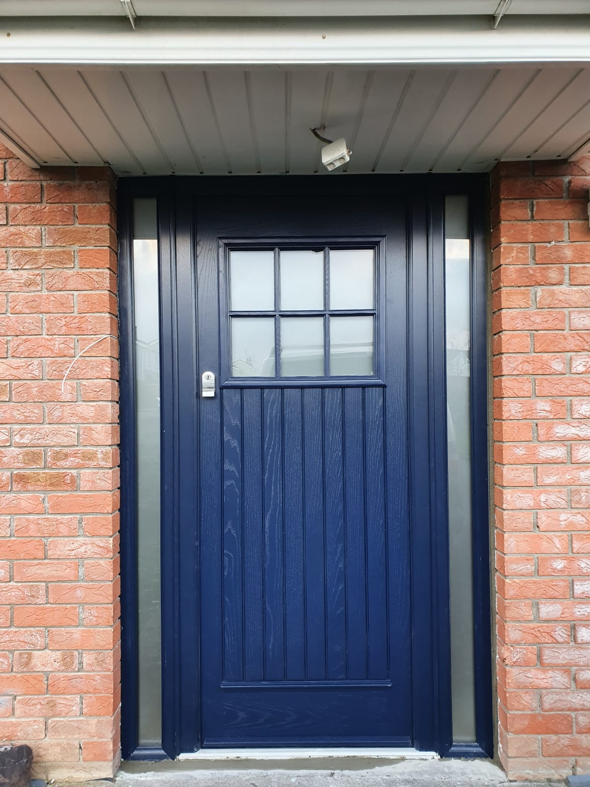 dublin Palladio composite door in blue with 2 side panels, finger-pull escutcheon, satinized glass